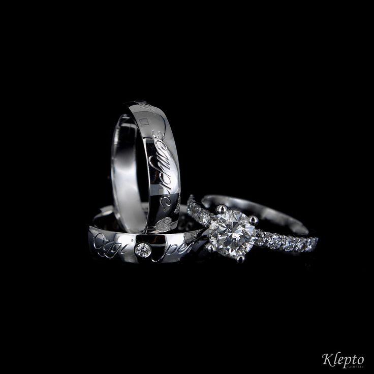 Fedi in oro bianco incisa a mano con bulino e solitario con diamante taglio Brillante 1,00 ct
