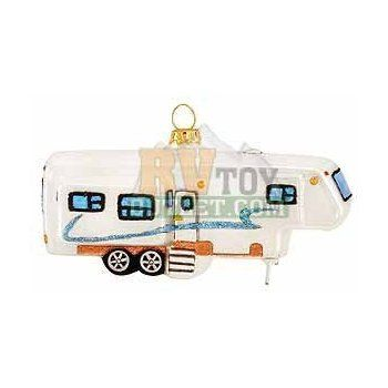 """Fifth Wheel trailer 5"""" 5th Wheel Trailer Glass Christmas Tree Ornament: Kitchen & Dining"""