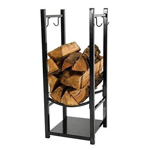 Fireplace Log Rack Wood Holder Fireside Tool Hooks Storage Metal Steel Black #SunnydazeDecor