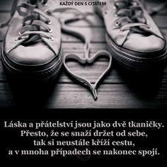 citáty - Láska a přátelství jsou jako dvě tkaničky