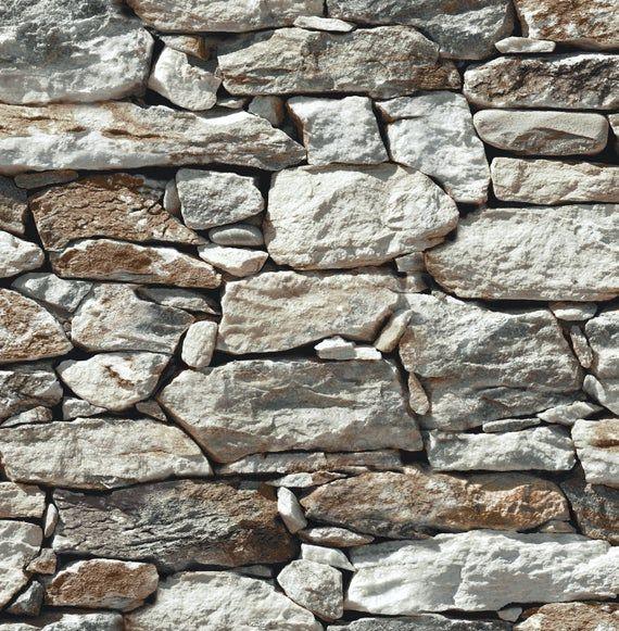 Wallpaper Self Adhesive Wallpaper Stone Wallpaper Peel Etsy Stone Wall Seabrook Designs Stone Wallpaper
