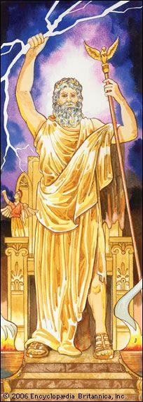 Art:In ancient Greek mythology, Zeus was the chief god. He ruled over all the other gods as well as humans.