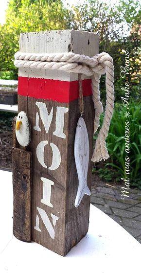 Maritimer Poller Moin Möwe  Kieselstein auf Holz