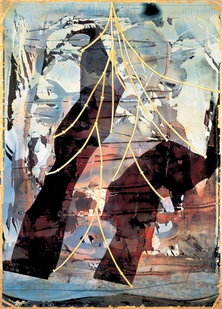Shinro Ohtake - Retina #9 (Brown Head) | 1988 - 90, Photograph, cloth adhesive tape, plastic resin on wooden panel, 292 x 218 x 7.5 cm