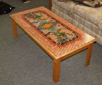 Bottle cap table- I'm thinking of making my boyfriend one of these for his birthday.