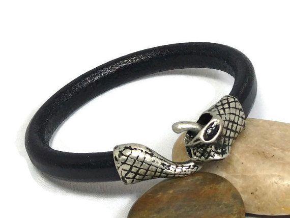 Mens leather bracelet  ouroboros  snake bracelet  by LuckyBeadsBox