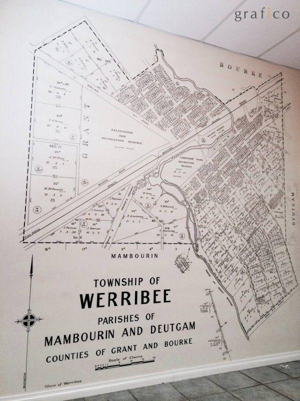 Custom Digital Print Wallpaper - Werribee Heritage Map, Mantello Real Estate