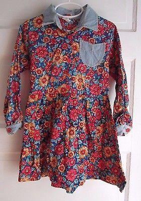 Vintage 70s Girls 5 Popsicle Brand 100% Cotton Long Sleeve Floral Denim Dress