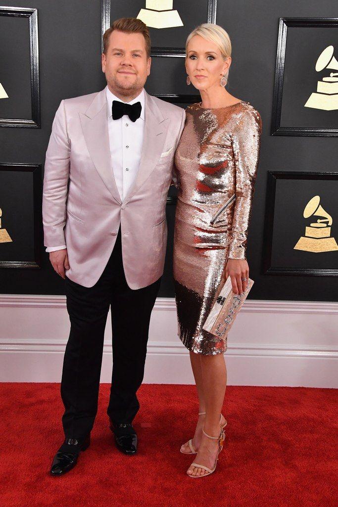 Host James Corden and his wife, actress Julia Carey