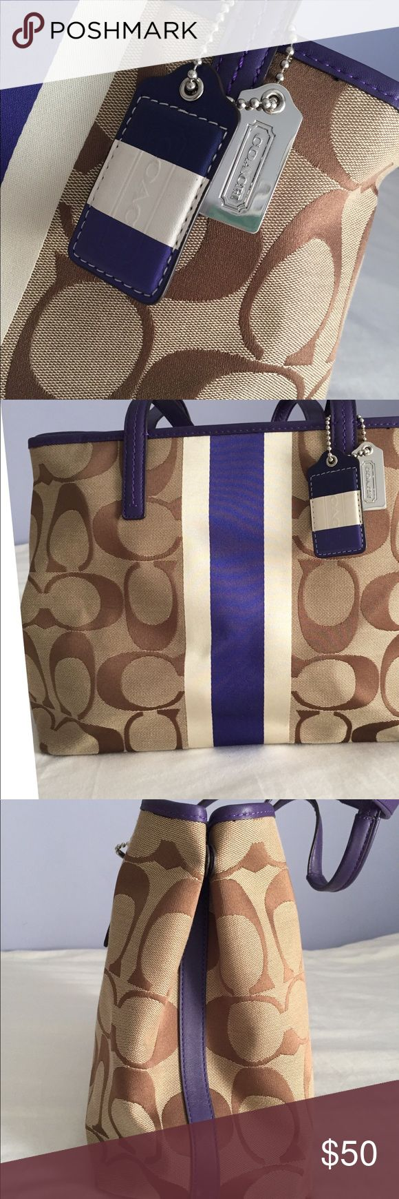 """Coach tote bag Gorgeous tan and purple tote bag in immaculate condition! Only used a few times and stored carefully in my closet. Zips all the way across but can be left open for easy access. Snaps on either side to expand bag size as well. Perfectly clean handles and interior; only a tiny minor scuff on one side, at bottom. Approximately 14.5"""" wide, 10.5"""" tall, 5"""" base, and 9"""" handle drop. Give this beautiful bag a new life! Coach Bags Totes"""