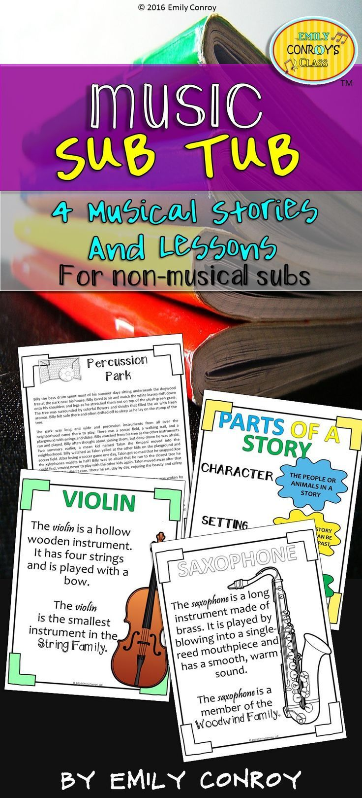 Music Sub Tub (Instrument Families of the Orchestra) contains 4 original stories and lessons about the brass, percussion, woodwind, and string families of the orchestra. These 40 minute lessons can be used by music teachers or music substitutes and is a great way to integrate literacy into the music classroom!