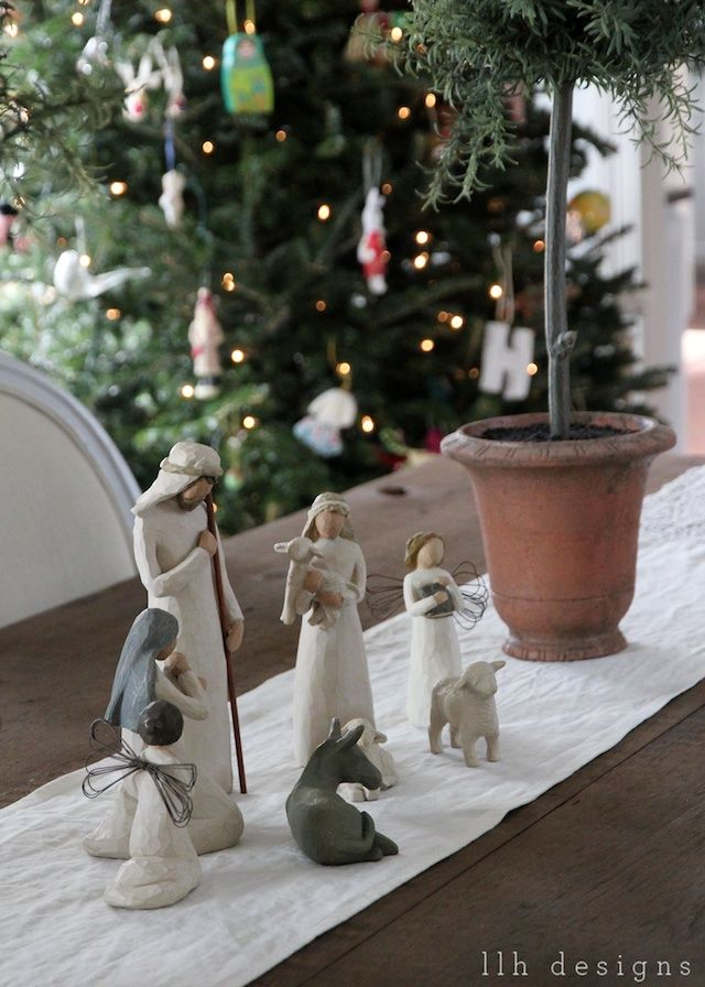 love the willow tree nativity on the table.
