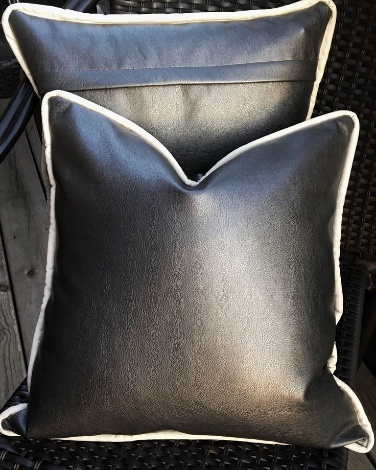 Fall Outdoor Pillows | Vinyl Pillows | Patio Pillows | Faux Leather Pillows  | Gray Metallic