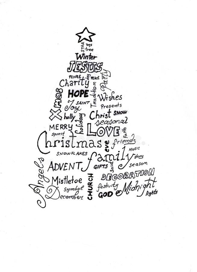 Christmas Tree Word Cloud Vector Illustration Christmas Cards Wording Word Cloud Words