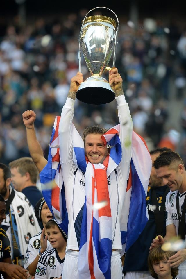 David Beckham after winning the MLS on his final LA Galaxy appearance