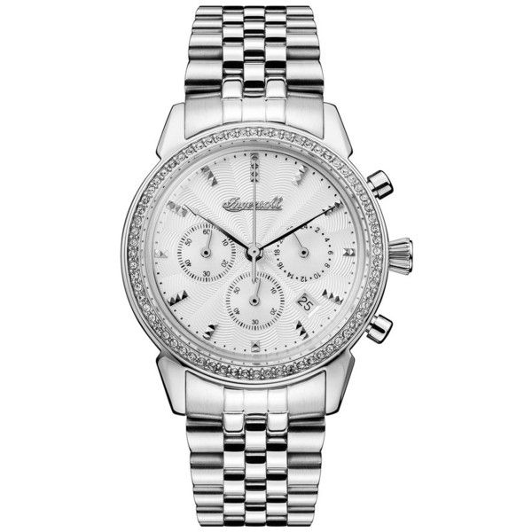 Women's Ingersoll Crystal Accent Chronograph Bracelet Watch, 35Mm ($350) ❤ liked on Polyvore featuring jewelry, watches, silver, dial watches, bracelet watch, guilloche jewelry, chronos watch and ingersoll watches