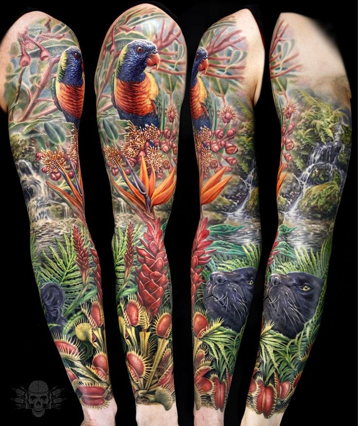 Jungle/tropical sleeve by @javi_tattooedtheory  For contact and booking info please visit : www.TattooedTheory.com