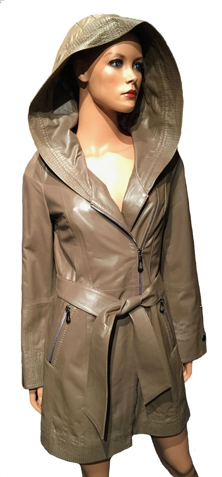 Damen Lederjacke taupe lang Gürtel Kapuze Echtleder Premium Jacke Gr. S M L Neu | eBay