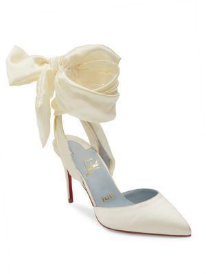 1ece0d17d1d8 Christian Louboutin Douce Du Desert 100 Satin Ankle-Wrap Pumps Elegant  Wedding shoes Elegant satin