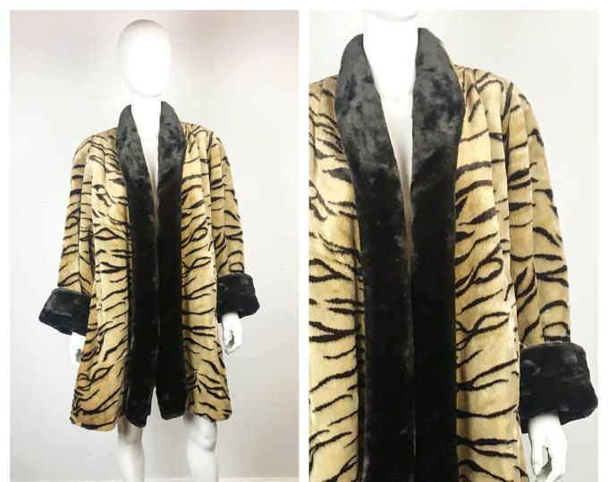 Vintage 1980s Coat / 80s does 40s Faux Tiger Fur Swing Coat / One Size