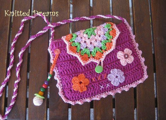Handmade  Crocheted  Organic Bag for girls by tatocka on Etsy