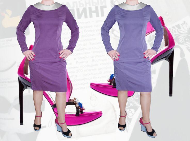 39$ Деловое платье прямого силуэта для полных девушек с атласным воротником Артикул 823,р50-64