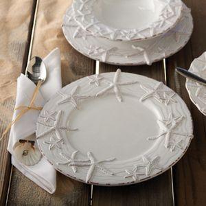 Starfish Beach Decor Dinner Plates :: Coastal Decor Dinnerware :: Coastal Decor Table :: By The Sea Decor - Beach Decor