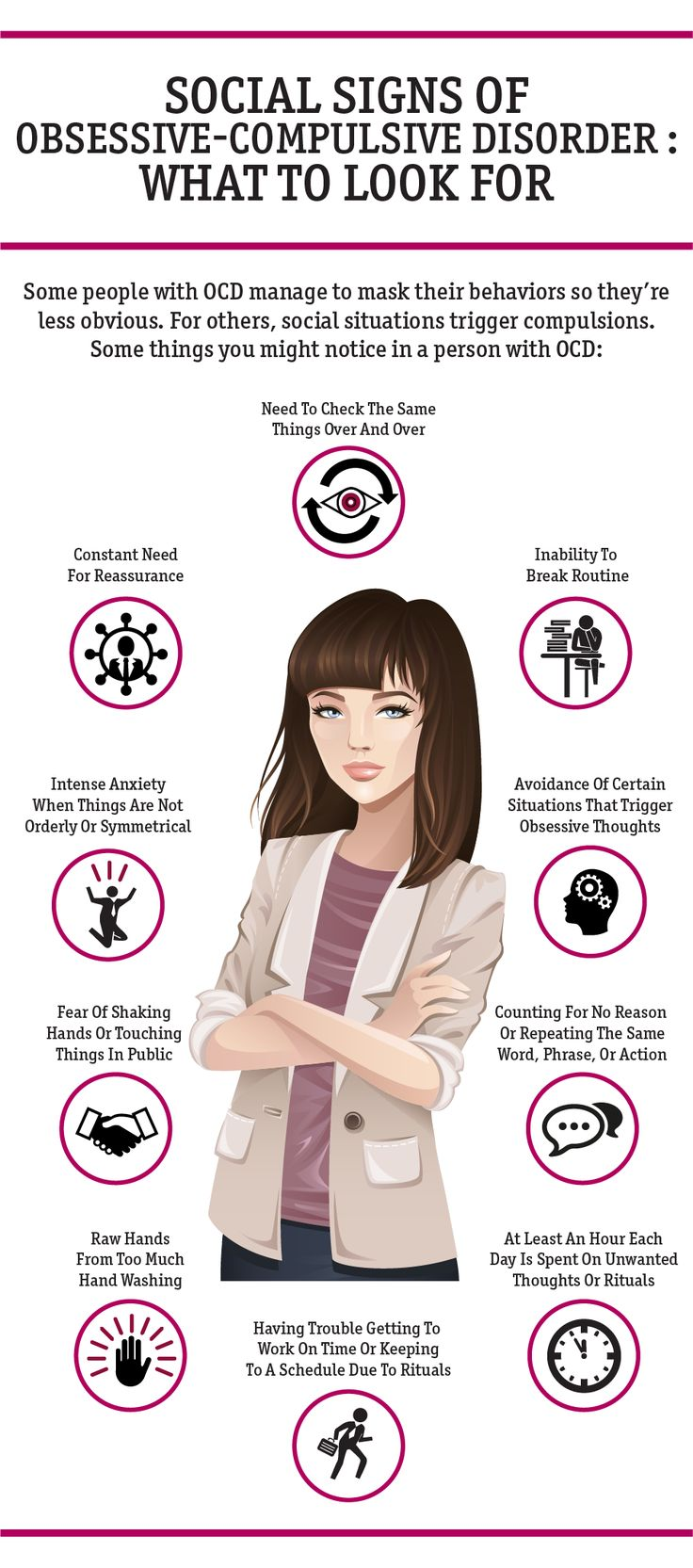Signs and symptoms of obsessive compulsive disorder. Click for more OCD info