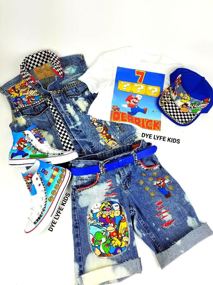 SUPER MARIO custom jacket, vest, shorts, tee, belt, shoes, birthday, disney, chucks, blue, distressed, hand painted, boy outfit, video game by DYELYFEkids on Etsy https://www.etsy.com/listing/517807104/super-mario-custom-jacket-vest-shorts