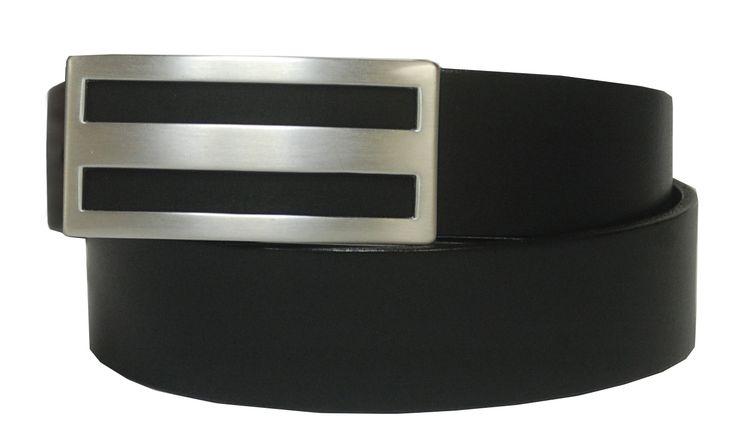 Leather Strap Belt with Slot Design Brushed Nickel Plaque Buckle - $55.00