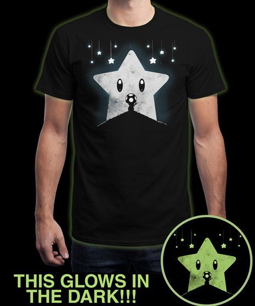 """Star Moon - glows in the dark"" is today's £8/€10/$12 tee for 24 hours only on www.Qwertee.com Pin this for a chance to win a FREE TEE this weekend. Follow us on pinterest.com/qwertee for a second! Thanks:)"