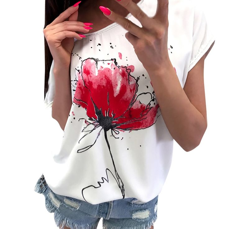 Women Short Sleeve T-Shirt Casual Floral Print ladies Loose Top Shirt