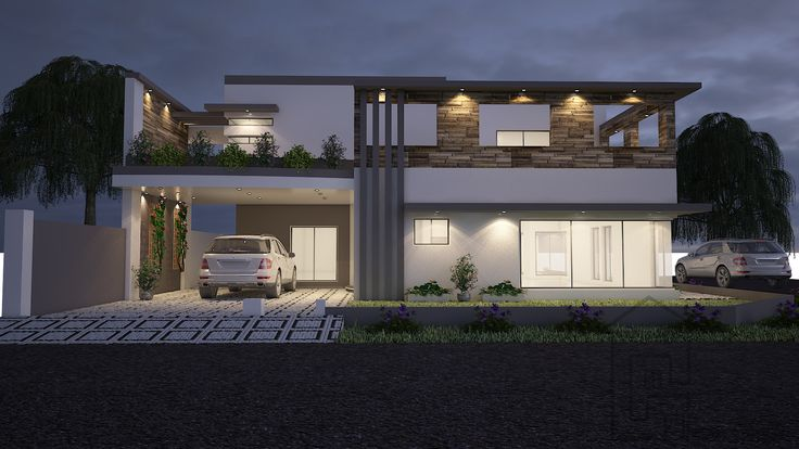 House front elevation design and floor plan for double storey