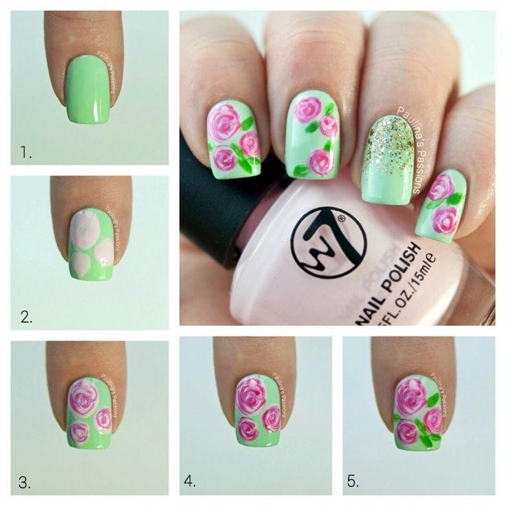 déco ongle facile étape par étape base vert menthe avec roses