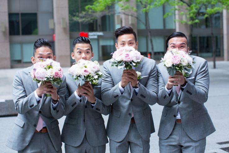 Toronto Financial District wedding party just guys fun