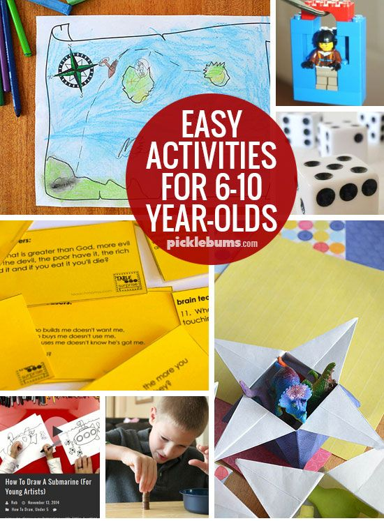 Easy Activities for 6-10 year-olds - keep those kids busy with simple, low-pre, low-mess, ideas.