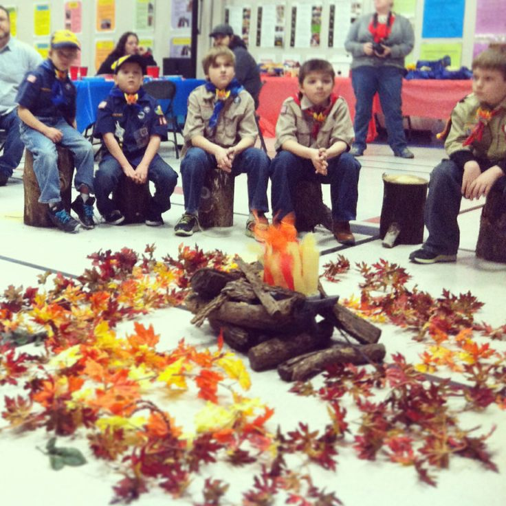 Fake campfire for Cub Scout blue and gold or pack meeting