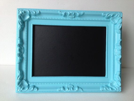 small framed chalkboard picture frame bedroom dorm nursery aqua turquoise blue shabby chic french baroque