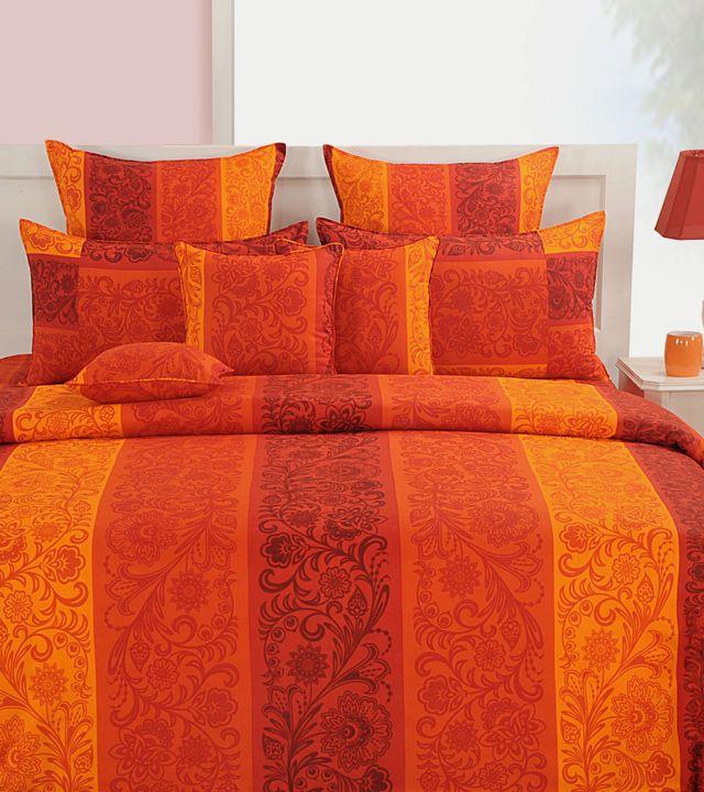 #Orange Printed #Cotton #Bed #Sheet Set at #Indianroots