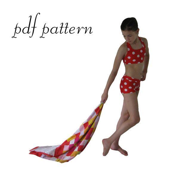 Retro vintage swim suit pdf pattern girls sizes by tumblentwirl, $8.00....I think I need to make Izzy this!