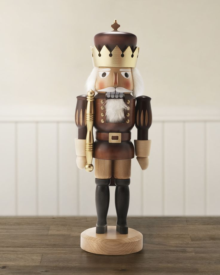 Our solid wood German Nutcracker Soldier is finished in natural color with hand painted gold accents, ready to occupy a place of honor on your mantel.