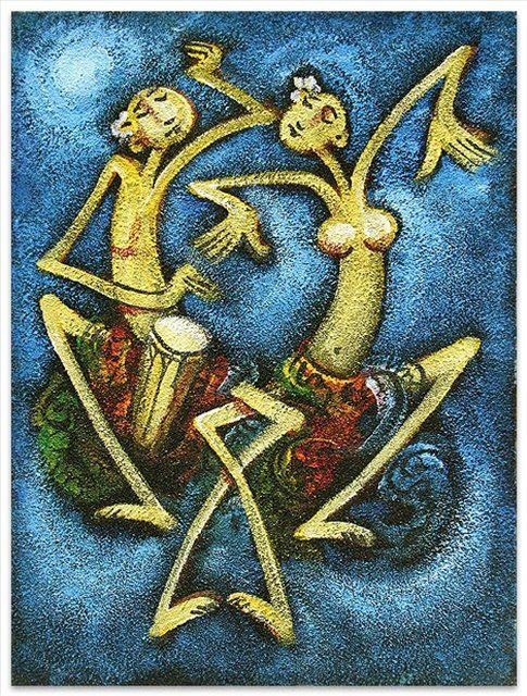 картина Танец дождя, плюс статья Цвета стиля дзен в декорировании помещений - Музыкальные инструменты, танцы, национальные костюмы в картинах