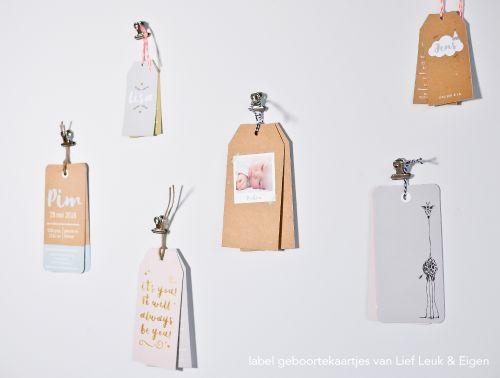 Nieuw! Tags en labels #geboortekaartjes van Lief, Leuk & Eigen!
