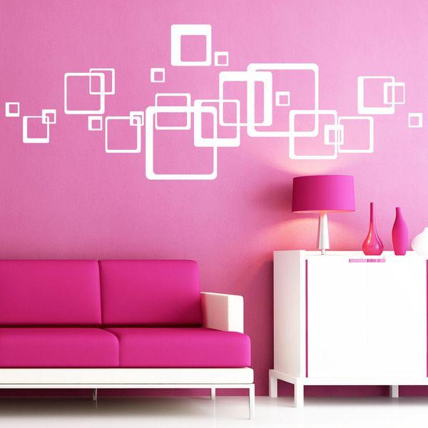 Wandtattoo xl vierecke quadrate 23teilig deko von wandtattoo loft via pink - Dawanda wandtattoo ...