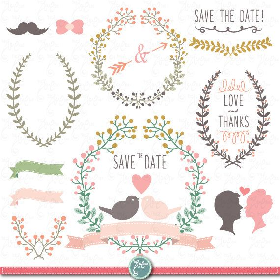 Wedding Clipart Design,Laurels clipart,Ribbons,Floral Frames,Wreath,for scrapbooking, wedding invitaion Wd013 Personal and Commercial Use.