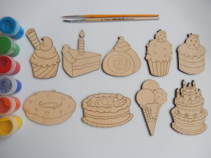 9 cakes and ice cream wooden craft shapes for kids and for Craft supplies wooden shapes