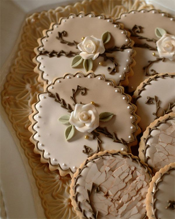Fondant flower sugar cookies with white chocolate lace liner by Julia M. Usher