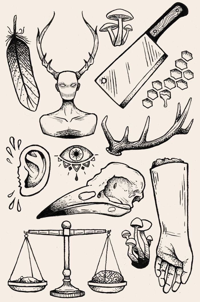 Another flash tattoo inspired illustration. Again these elements have been inspired by the mystic motifs of alchemy. The illustrations are unified through the style by using bold lines to create shading