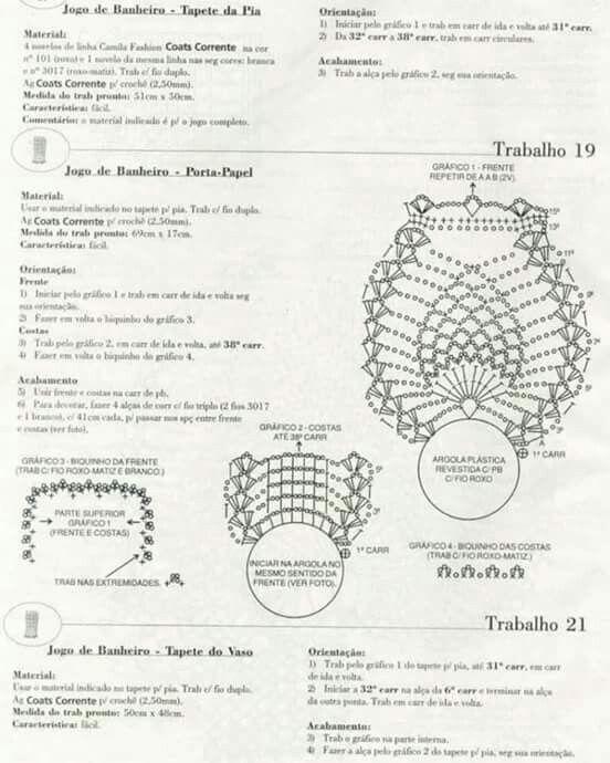 Buho set baño 4 | Tejidos crochet | Pinterest | Crochet, Crochet ...
