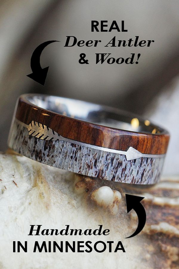 Sterling Silver Arrow Ring With Ironwood and Deer Antler - Antler Wedding Bands - Wood Wedding Bands